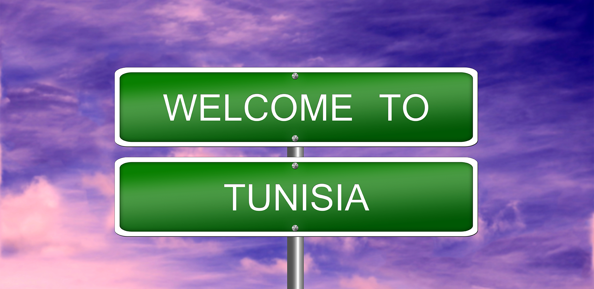 Purple Sky in Tunisia with welcome sign post