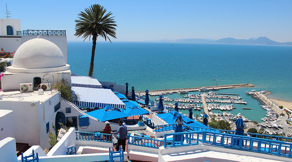 view looking over Sidi Bou Said in Tunisia